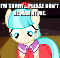 Size: 409x398 | Tagged: safe, edit, edited screencap, screencap, coco pommel, rarity takes manehattan, bronybait, caption, cocobetes, cropped, cute, female, image macro, looking down, solo, text, weapons-grade cute