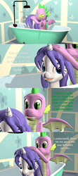 Size: 1920x4320 | Tagged: safe, artist:papadragon69, rarity, spike, dragon, comic:spike's cyosa, 3d, bathing, bathtub, carousel boutique, choose your own adventure, comic, female, male, older, older spike, shipping, shower, source filmmaker, sparity, straight, teenage spike, teenager, waking up, washing hair, wet, wet mane, wet mane rarity, winged spike