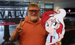 Size: 750x454 | Tagged: safe, artist:fuzzybrushy, oc, oc:stock piston, equestria girls, 1000 years in photoshop, equestria girls in real life, gabe newell, irl, meme, photo, steam (software), valve software