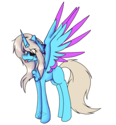 Size: 692x746 | Tagged: safe, artist:chazmazda, oc, oc only, oc:charlie gallaxy-starr, alicorn, pony, :p, alicorn oc, black sclera, chest fluff, eye clipping through hair, female, full body, fullbody, mare, mismatched eyes, shade, simple background, tongue out, transparent background