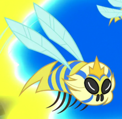 Size: 558x542 | Tagged: a horse shoe-in, animal, bee, cropped, crown, flash bee, flying, insect, jewelry, queen bee, regalia, safe, screencap, solo focus, spoiler:s09e20