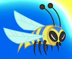 Size: 382x311 | Tagged: a horse shoe-in, animal, bee, cropped, flash bee, flying, insect, safe, screencap, solo, spoiler:s09e20
