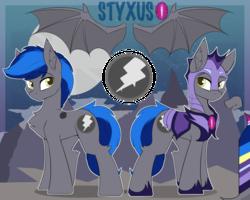 Size: 789x632   Tagged: safe, artist:beardie, oc, oc only, oc:styxus, bat pony, pony, armor, bat pony oc, eyebrows visible through hair, night guard, reference sheet