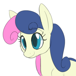 Size: 800x800   Tagged: safe, artist:casualcolt, bon bon, sweetie drops, earth pony, pony, bust, colored sketch, female, mare, portrait, simple background, smiling, solo, white background