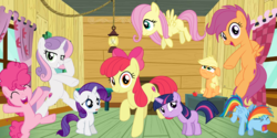Size: 2000x1000 | Tagged: age progression, age regression, age swap, apple, apple bloom, applejack, artist:abion47, artist:arifproject, artist:cyanlightning, artist:jhayarr23, artist:ocarina0ftimelord, artist:slb94, clubhouse, crusaders clubhouse, earth pony, female, filly, filly applejack, filly fluttershy, filly pinkie pie, filly rainbow dash, filly rarity, filly twilight sparkle, fluttershy, food, growing up is hard to do, older, older apple bloom, older cmc, older scootaloo, older sweetie belle, pegasus, pinkie pie, pony, rainbow dash, rarity, role reversal, safe, scootaloo, spoiler:s09e22, sweetie belle, twilight sparkle, unicorn, unicorn twilight, younger