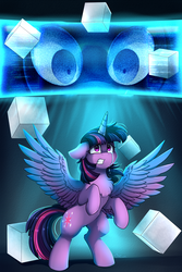 Size: 2550x3809 | Tagged: alicorn, artist:pridark, chest fluff, commission, crying, cube, cutie mark, eye, eyes, fanfic, fanfic art, fanfic cover, female, floppy ears, high res, mare, pony, rearing, safe, scared, solo, spread wings, twilight sparkle, twilight sparkle (alicorn), wings
