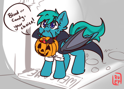 Size: 4171x3000 | Tagged: :3, artist:ruef, candy, clothes, costume, cute, fake wings, food, halloween, halloween costume, holiday, jack-o-lantern, male, mouth hold, oc, oc:compass rose, oc only, pumpkin, pumpkin bucket, safe, stallion, trick or treat, vampire