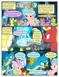 Size: 612x792 | Tagged: safe, artist:newbiespud, edit, edited screencap, screencap, cozy glow, gallus, november rain, ocellus, sandbar, silverstream, smolder, starlight glimmer, tune-up, yona, changedling, changeling, classical hippogriff, dragon, earth pony, griffon, hippogriff, pegasus, pony, unicorn, yak, comic:friendship is dragons, school raze, angry, background pony, background pony audience, bow, colt, comic, dialogue, dragoness, female, filly, flying, freckles, friendship student, frown, hair bow, looking down, looking up, magic, magic circle, male, mare, screencap comic, stallion, student six