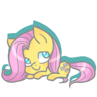 Size: 200x200 | Tagged: artist:cloudbrownie, chibi, cute, fluttershy, pony, prone, safe, shyabetes, simple background, smol, solo, transparent background