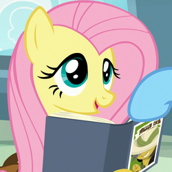 Size: 1032x1032 | Tagged: safe, screencap, fluttershy, rainbow dash, pegasus, pony, daring doubt, book, cropped, cute, female, mare, saddle bag, shyabetes, smiling