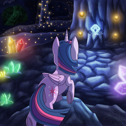 Size: 1000x1000 | Tagged: alicorn, artist:racingwolf, cave, crystal, fanfic:beneath the surface, female, mare, safe, twilight sparkle, twilight sparkle (alicorn)