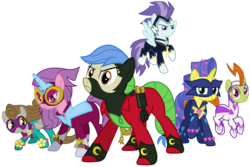 Size: 7500x5000 | Tagged: 3d, alternate version, artist:90sigma, artist:lucefudu, earth pony, fili-second, gmod, idw, masked matter-horn, mistress marevelous, pegasus, pony, power ponies, radiance, saddle rager, safe, simple background, source filmmaker, svg, .svg available, transparent background, unicorn, vector, zapp