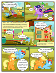 Size: 612x792 | Tagged: angry, applejack, artist:newbiespud, barrel, chalk drawing, comic, comic:friendship is dragons, contest, dialogue, dragon, earth pony, edit, edited screencap, fall weather friends, flower, fluttershy, flying, freckles, hat, looking up, male, pegasus, pony, prone, rainbow dash, riding, running, safe, scoreboard, screencap, screencap comic, spike, traditional art, twilight sparkle, unicorn, unicorn twilight