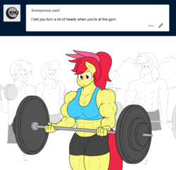 Size: 1280x1236 | Tagged: safe, artist:matchstickman, apple bloom, oc, oc:calm wind, anthro, earth pony, pegasus, tumblr:where the apple blossoms, abs, apple bloom's bow, apple brawn, background pony, barbell, biceps, bodybuilder, bow, breasts, busty apple bloom, clothes, deltoids, dumbbell (object), female, gym, hair bow, male, mare, matchstickman's apple brawn series, muscles, older, older apple bloom, pecs, simple background, solo focus, sports bra, sports shorts, spread wings, stallion, thighs, thunder thighs, tumblr comic, vein, weight lifting, white background, wingboner, wings