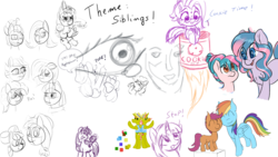 Size: 1920x1080 | Tagged: apple bloom, applejack, artist:fluffyxai, artist:galinn-arts, artist:huffylime, cookie, cozy glow, drawpile disasters, flam, flim, flim flam brothers, fluttershy, food, limestone pie, marble pie, maud pie, mlpds, oc, oc:berry twist, pie sisters, pinkie pie, safe, scootaloo, scootalove, siblings, sisters, speech, speech bubble, spike, text, tulip swirl, twilight sparkle, zephyr breeze