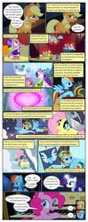 Size: 612x1550 | Tagged: safe, artist:newbiespud, edit, edited screencap, screencap, applejack, cloud kicker, commander hurricane, fluttershy, pinkie pie, princess platinum, private pansy, rainbow dash, rarity, smart cookie, spike, dragon, earth pony, pegasus, pony, unicorn, comic:friendship is dragons, ..., background pony, banner, cloak, clothes, cloud, comic, crown, dialogue, female, flying, freckles, glowing horn, grin, hat, hearth's warming, helmet, horn, jewelry, looking up, male, mare, musical instrument, on a cloud, piano, play, regalia, screencap comic, slit eyes, smiling, stallion