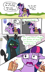 Size: 638x1031 | Tagged: safe, artist:jargon scott, queen chrysalis, twilight sparkle, changeling, changeling queen, pony, unicorn, bags under eyes, comic, dialogue, eyes closed, female, floppy ears, food, horrified, implied chrysarmordance, implied shipping, mare, meme, mom's spaghetti, onomatopoeia, pasta, raised hoof, saddle bag, scared, smiling, spaghetti, unicorn twilight, vietnam flashback, wide eyes