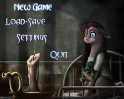 Size: 1875x1500 | Tagged: safe, artist:28gooddays, gummy, pinkie pie, earth pony, pony, american mcgee's alice, bandage, bed, candle, crossover, menu, menu screen, pinkamena diane pie, solo