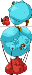 Size: 549x1280 | Tagged: artist:mad'n evil, blimp, blob, fat, female, helium inflation, huge ass, huge belly, inflation, large ass, morbidly obese, obese, oc, oc:cloudbow rose, oc only, oc:redbow rose, pegasus, safe, siblings, sisters, weight gain