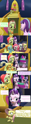 Size: 1920x7560 | Tagged: 3d, 5-year-old, adult, age progression, age regression, alicorn, applejack, artist:red4567, book, comic, comic:i must regress, female, filly, filly fluttershy, filly pinkie pie, filly rainbow dash, filly rarity, fluttershy, granny smith, horn, implied spike, mane six, pinkie pie, rainbow dash, rarity, safe, source filmmaker, spell gone wrong, starlight glimmer, twilight's castle, twilight sparkle, twilight sparkle (alicorn), younger, young granny smith