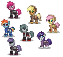 Size: 550x500 | Tagged: safe, artist:venombronypl, applejack, fluttershy, marble pie, maud pie, pinkie pie, rainbow dash, rarity, pony, pony town, alternate timeline, crystal war timeline, simple background