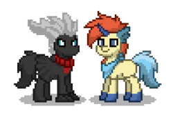 Size: 300x200 | Tagged: artist:venombronypl, darkrai, keldeo, pokémon, pony, pony town, safe, simple background