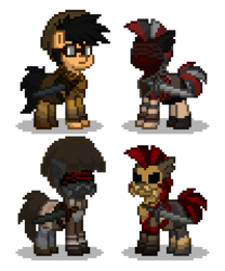 Size: 300x360 | Tagged: safe, artist:venombronypl, pony, pony town, decanus, fallout, fallout: new vegas, legion, legion legate, ncr, ncr ranger, ncr veteran armor, ncr veteran ranger, simple background