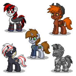Size: 400x400 | Tagged: applejack's rangers, armor, artist:venombronypl, augmented, clothes, cowboy hat, cyber legs, cyborg, dashite, earth pony, fallout equestria, fallout equestria: project horizons, fanfic, fanfic art, female, gun, hat, hooves, horn, male, mare, oc, oc:blackjack, oc:calamity, oc:littlepip, oc only, oc:steelhooves, oc:velvet remedy, pegasus, pipbuck, pixel art, pony, pony town, power armor, safe, simple background, stallion, steel ranger, transparent background, unicorn, vault suit, weapon, wings