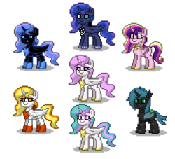 Size: 550x500 | Tagged: artist:venombronypl, daybreaker, nightmare moon, pony, pony town, princess cadance, princess celestia, princess luna, princess molestia, queen chrysalis, safe, simple background