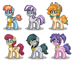 Size: 450x400 | Tagged: safe, artist:venombronypl, cloudy quartz, cookie crumbles, pear butter, posey shy, twilight velvet, windy whistles, pegasus, pony, unicorn, pony town, mom six, simple background