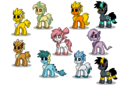 Size: 700x500 | Tagged: safe, artist:venombronypl, eevee, espeon, flareon, glaceon, jolteon, leafeon, pony, sylveon, umbreon, vaporeon, pony town, pokémon, shiny pokémon, simple background