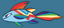 Size: 220x98 | Tagged: safe, artist:atryl, rainbow dash, cropped, female, fishified, maybe salmon, not salmon, rainbow trout, salmon yet not salmon, smiling, smirk, solo, species swap, wat