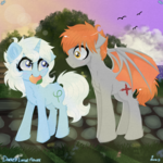 Size: 3000x3000 | Tagged: safe, artist:darkest-lunar-flower, oc, oc:dusk mane, oc:eula phi, bat pony, bird, unicorn, amused, cloud, flower, food, mango, mouth hold, park, playful, stone, sunset, tree, unamused