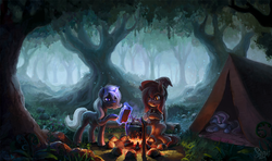 Size: 2000x1184 | Tagged: artist:nemo2d, bat pony, bat pony oc, campfire, camping, cauldron, forest, hat, oc, oc:eula phi, oc only, oc:velvet silverwing, oc:windbreaker, pegasus, safe, scenery, sleeping, tent, tree, unicorn, witch hat