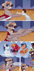 Size: 1932x4000 | Tagged: safe, artist:xjenn9fusion, big macintosh, flash sentry, shining armor, trouble shoes, oc, oc:aerial agriculture, oc:earthing elements, oc:king speedy hooves, oc:tommy the human, alicorn, human, pony, comic:fusing the fusions, comic:time of the fusions, alicorn oc, alicorn princess, canterlot, canterlot castle, child, comic, commissioner:bigonionbean, dialogue, father and son, female, fusion, fusion:aerial agriculture, fusion:earthing elements, fusion:king speedy hooves, grandparents, hat, hugging a pony, human oc, husband and wife, kissing, magic, male, mare, nuzzling, royalty, ruffled hair, stallion, thought bubble, writer:bigonionbean