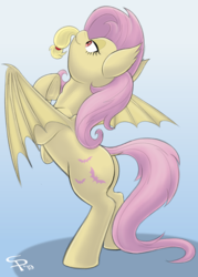 Size: 914x1280   Tagged: safe, artist:suspega, applejack, fluttershy, bat pony, pegasus, pony, bat ponified, bat wings, bipedal, blue background, butt, female, fetish, flutterbat, flutterpred, frog (hoof), gradient background, mare, micro, plot, preyjack, race swap, red eyes, simple background, size difference, spread wings, swallowing, tail, tail sticking out, throat bulge, underhoof, vore, wings