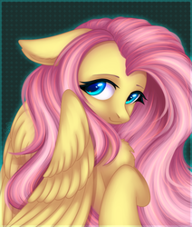 Size: 1694x2000 | Tagged: artist:avrameow, beautiful, bust, chest fluff, cute, fabulous, female, floppy ears, fluttershy, high res, looking at you, mare, pegasus, pony, portrait, safe, shyabetes, smiling, solo, three quarter view, wings