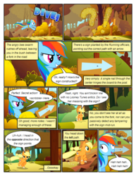 Size: 612x792 | Tagged: safe, artist:newbiespud, edit, edited screencap, screencap, applejack, rainbow dash, bee, earth pony, pegasus, pony, comic:friendship is dragons, fall weather friends, comic, derp, dialogue, exclamation point, female, freckles, grin, hat, hiding, interrobang, laughing, mare, onomatopoeia, question mark, running, running of the leaves, screencap comic, sign, smiling, speech bubble