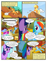 Size: 612x792 | Tagged: angry, annoyed, applejack, artist:newbiespud, background pony, berry punch, berryshine, bon bon, carrot top, cliff, comic, comic:friendship is dragons, dialogue, diamond mint, earth pony, edited screencap, fall weather friends, female, freckles, golden harvest, hat, laughing, looking down, lyra heartstrings, mare, pegasus, pony, rainbow dash, rope, running, running of the leaves, safe, screencap, screencap comic, surprised, sweetie drops, twilight sparkle, unicorn, unicorn twilight, worried
