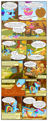 Size: 612x1552 | Tagged: applejack, artist:newbiespud, background pony, berry punch, berryshine, bon bon, bound wings, carrot top, comic, comic:friendship is dragons, dialogue, diamond mint, earth pony, edited screencap, eyes closed, fall weather friends, female, flying, freckles, golden harvest, grin, hat, hot air balloon, kicking, lemon hearts, linky, lyra heartstrings, male, mare, megaphone, microphone, onomatopoeia, pegasus, pinkie pie, pony, rainbow dash, rope, running, running of the leaves, safe, screencap, screencap comic, shoeshine, smiling, spike, stuck, sweetie drops, tree sap, unicorn, wings