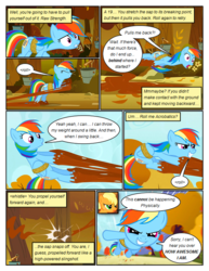 Size: 612x792 | Tagged: annoyed, applejack, artist:newbiespud, bound wings, comic, comic:friendship is dragons, dialogue, earth pony, edited screencap, eyes closed, fall weather friends, female, flying, freckles, grin, hat, mare, pegasus, pony, rainbow dash, rope, running, running of the leaves, safe, screencap, screencap comic, smiling, stuck, tree sap, wings