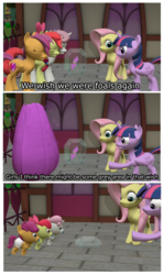 Size: 2000x3357 | Tagged: 3d, age regression, age spell, alicorn, apple bloom, artist:mrdoctorderpy, babies, baby, baby pony, comic, cutie mark, cutie mark crusaders, diaper, flower, fluttershy, foal, growing up is hard to do, magic, older, older apple bloom, older cmc, older scootaloo, older sweetie belle, pacifier, pony, safe, scootaloo, source filmmaker, spoiler:s09e22, sweetie belle, the cmc's cutie marks, twilight sparkle, twilight sparkle (alicorn), wish, wishing flower