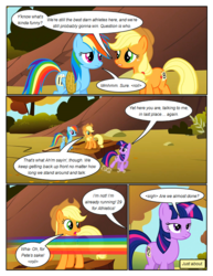 Size: 612x792 | Tagged: applejack, artist:newbiespud, bound wings, comic, comic:friendship is dragons, dialogue, earth pony, edited screencap, fall weather friends, female, freckles, frown, hat, looking back, mare, motion blur, open mouth, pegasus, pony, rainbow dash, rope, running of the leaves, safe, screencap, screencap comic, twilight sparkle, unamused, unicorn, unicorn twilight, walking, wide eyes, wings
