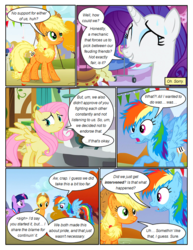 Size: 612x792 | Tagged: applejack, artist:newbiespud, comic, comic:friendship is dragons, dialogue, earth pony, edit, edited screencap, eyes closed, fall weather friends, female, fluttershy, freckles, grin, hat, injured, mare, messy mane, pegasus, pony, rainbow dash, rarity, safe, screencap, screencap comic, smiling, twilight sparkle, unicorn, unicorn twilight, worried