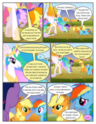Size: 612x792 | Tagged: alicorn, applejack, artist:newbiespud, big crown thingy, bowing, carrot top, comic, comic:friendship is dragons, dialogue, dizzy twister, earth pony, edit, edited screencap, ethereal mane, eyes closed, fall weather friends, female, freckles, golden harvest, hat, hoof shoes, injured, jewelry, mare, messy mane, orange swirl, pegasus, peytral, pony, princess celestia, rainbow dash, regalia, safe, screencap, screencap comic, seafoam, sea swirl, twilight sparkle, twinkleshine, unicorn, unicorn twilight