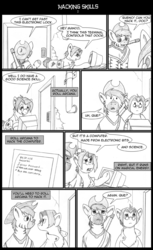 Size: 800x1309 | Tagged: artist:digoraccoon, clothes, collaboration, comic, comic:friendship is dragons, computer, dialogue, earth pony, glasses, gun, hat, lineart, looking up, male, monochrome, nurse, oc, oc:doc wagon, oc:manco correro, poncho, pony, rifle, saddle bag, safe, stallion, weapon, zebra, zebra oc