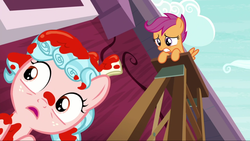 Size: 1280x720   Tagged: safe, screencap, cozy glow, scootaloo, pony, marks for effort, not blood, out of context, paint