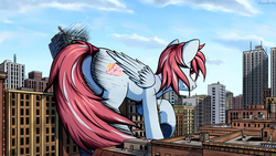 Size: 1920x1080 | Tagged: artist:adagiostring, city, destruction, female, giantess, giant pony, looking back, macro, mare, oc, oc:evening skies, oc only, pegasus, pony, safe, solo