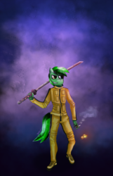 Size: 1670x2600 | Tagged: abstract background, anthro, artist:jesterpi, cigarette, clothes, jumpsuit, katana, lighter, miscolored eyes, oc, oc:shining emerald, outfit, purple background, safe, simple background, smoke, sword, walking, weapon