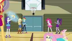 Size: 1920x1080 | Tagged: safe, screencap, applejack, fluttershy, pinkie pie, rainbow dash, rarity, sci-twi, sunset shimmer, twilight sparkle, do it for the ponygram!, equestria girls, equestria girls series, spoiler:eqg series (season 2), basket, converse, female, geode of shielding, geode of sugar bombs, geode of super speed, geode of super strength, geode of telekinesis, gym, humane five, humane seven, humane six, magical geodes, shoes, sports, volleyball